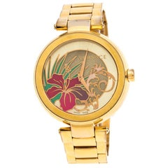Versace Gold Plated Stainless Steel Mystique Hibiscus Women's Wristwatch 38MM