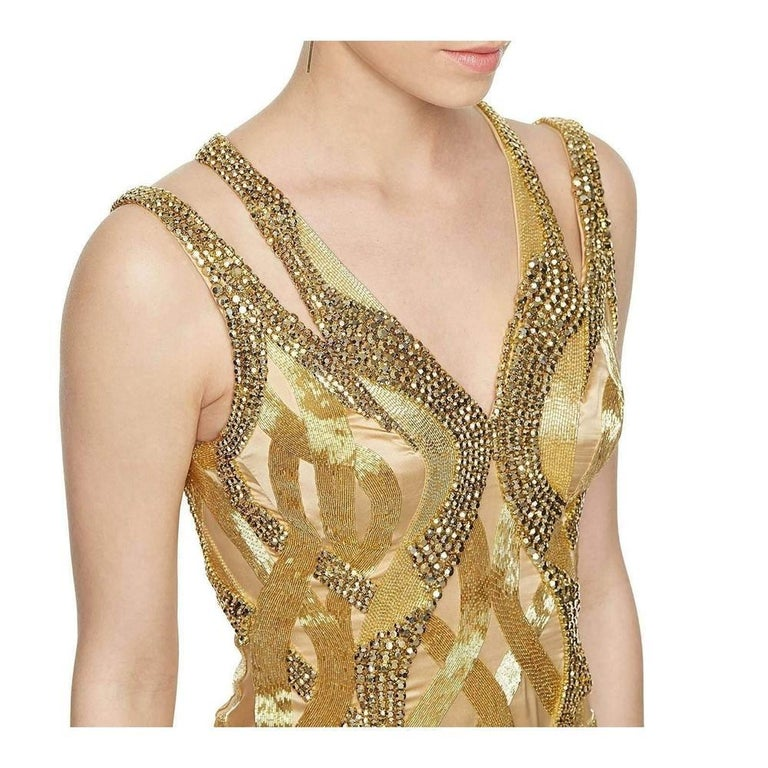 VERSACE Gold Sequin Embellished Open Back Gown IT38 US 2-4 In New Condition For Sale In Brossard, QC