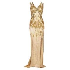 VERSACE Gold Sequin Embellished Open Back Gown IT38 US 0-2