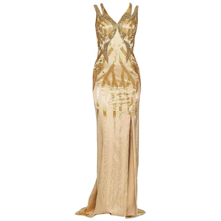 VERSACE Gold Sequin Embellished Open Back Gown IT38 US 2-4 For Sale