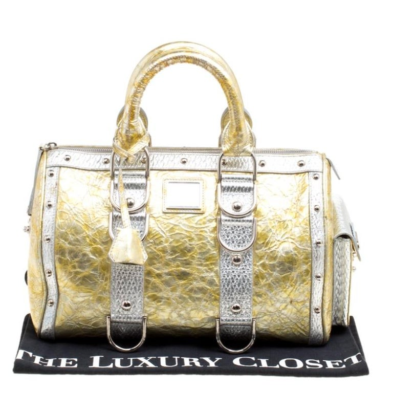 Versace Gold/Silver Ceramic Effect Leather Snap Out Of It Satchel For Sale 7