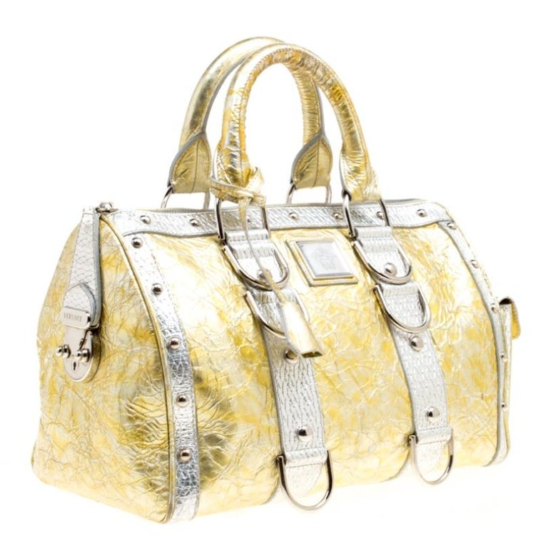 Women's Versace Gold/Silver Ceramic Effect Leather Snap Out Of It Satchel For Sale