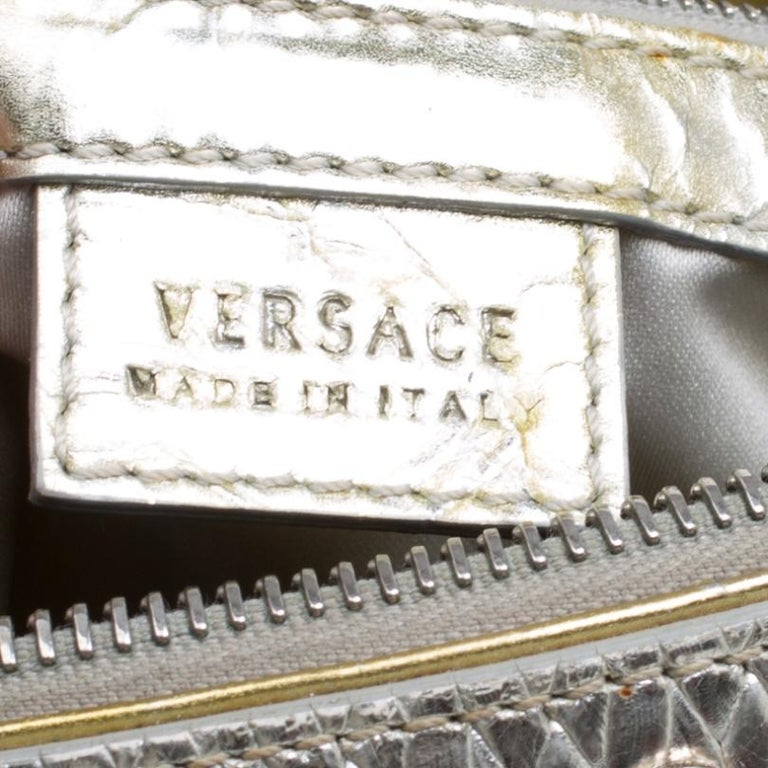 Versace Gold/Silver Ceramic Effect Leather Snap Out Of It Satchel For Sale 1