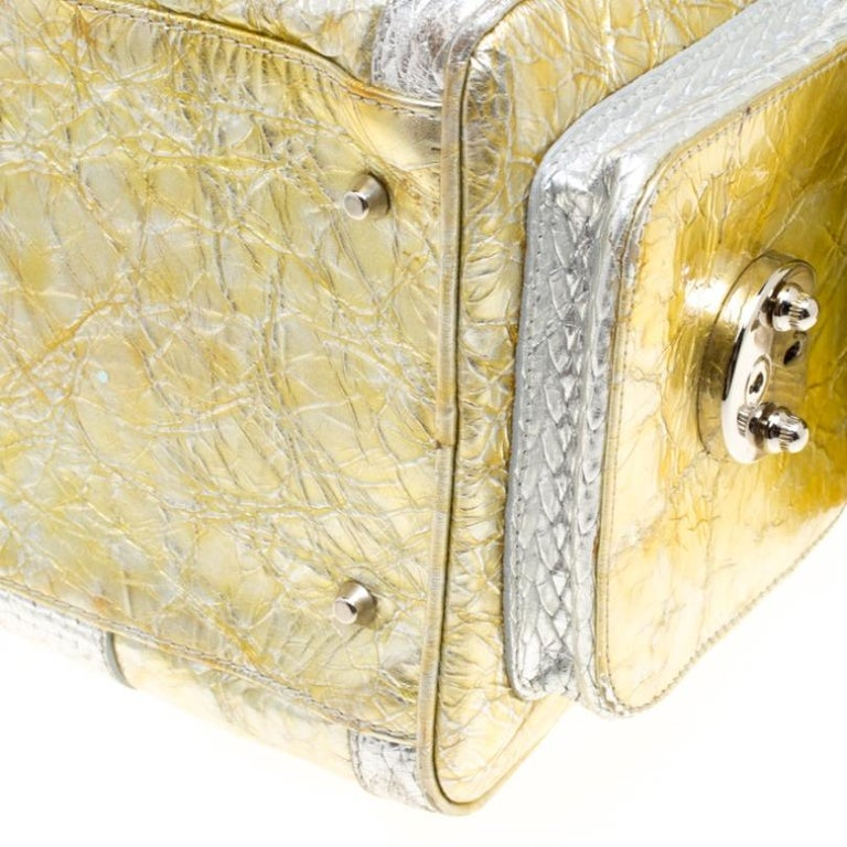 Versace Gold/Silver Ceramic Effect Leather Snap Out Of It Satchel For Sale 2