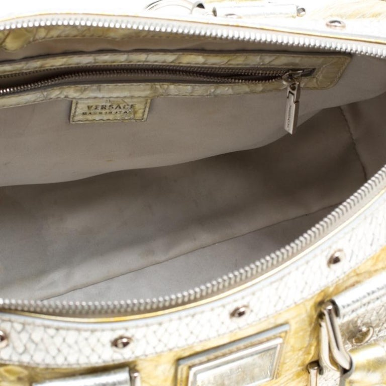 Versace Gold/Silver Ceramic Effect Leather Snap Out Of It Satchel For Sale 4