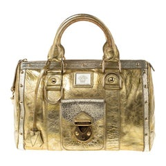 Versace Gold/Silver Ceramic Effect Leather Snap Out Of It Satchel
