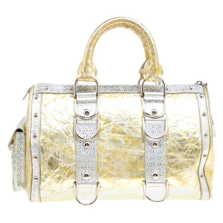 Versace Gold/Silver Ceramic Effect Leather Snap Out Of It Satchel For Sale