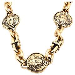 Versace Gold Tone Medusa Tribute Medallion Gilded Necklace