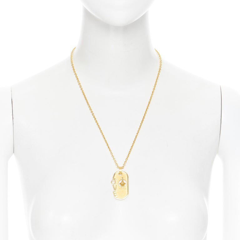 VERSACE gold tone nickel Love hanging Mesuda dog tag plate necklace In Excellent Condition For Sale In Hong Kong, NT