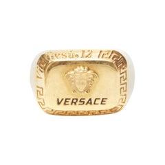 VERSACE gold tone nickel Medusa face black logo Greca bordered signet ring 8.75