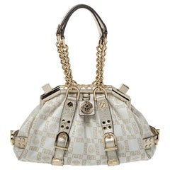 Versace Gold/White Signature Fabric and Leather Frame Satchel