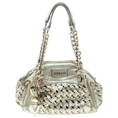 Versace Gold Woven Leather Satchel