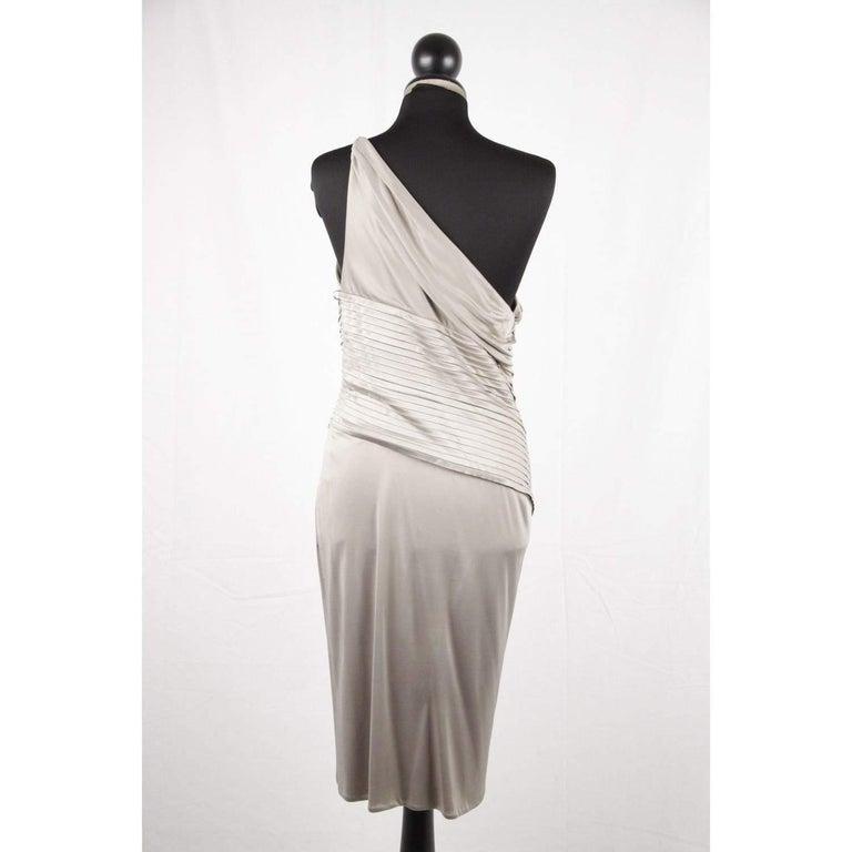 Women's VERSACE Gray Jersey ONE SHOULDER Sheath DRESS w/ Pleating SIZE 42 For Sale