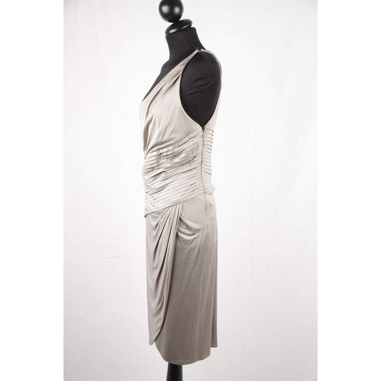 VERSACE Gray Jersey ONE SHOULDER Sheath DRESS w/ Pleating SIZE 42 For Sale 1