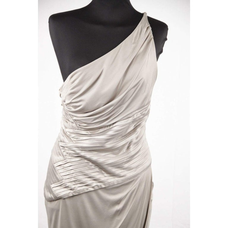 VERSACE Gray Jersey ONE SHOULDER Sheath DRESS w/ Pleating SIZE 42 For Sale 2