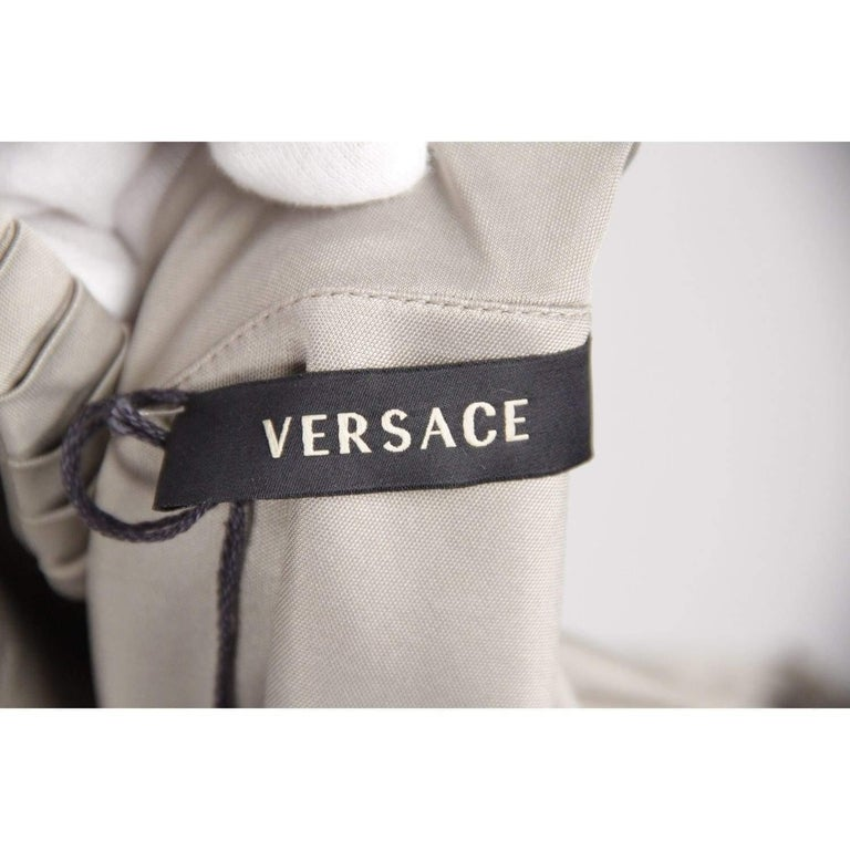 VERSACE Gray Jersey ONE SHOULDER Sheath DRESS w/ Pleating SIZE 42 For Sale 5