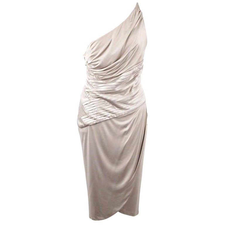 VERSACE Gray Jersey ONE SHOULDER Sheath DRESS w/ Pleating SIZE 42 For Sale