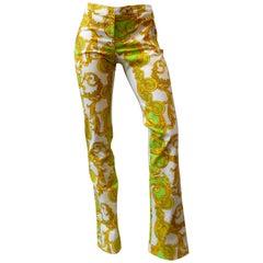 Versace Green and Gold Baroque Printed Pants