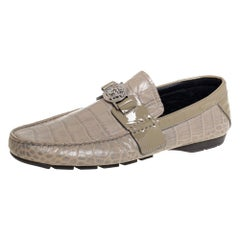 Versace Grey Croc Embossed Leather And Patent Leather Slip On Loafers Size 41