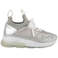 """Versace Grey & Silver Glitter """"Cross Chainer"""" Sneakers Size 36"""