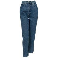 Versace High Waist Straight Leg Jeans with Medusa Rivets - It 46, 1999