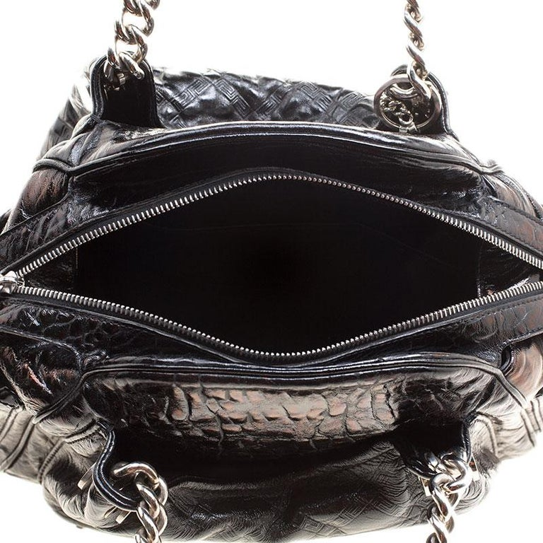 Versace Holographic Black Textured Patent Leather Satchel For Sale 6