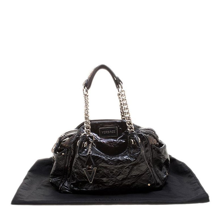 Versace Holographic Black Textured Patent Leather Satchel For Sale 7