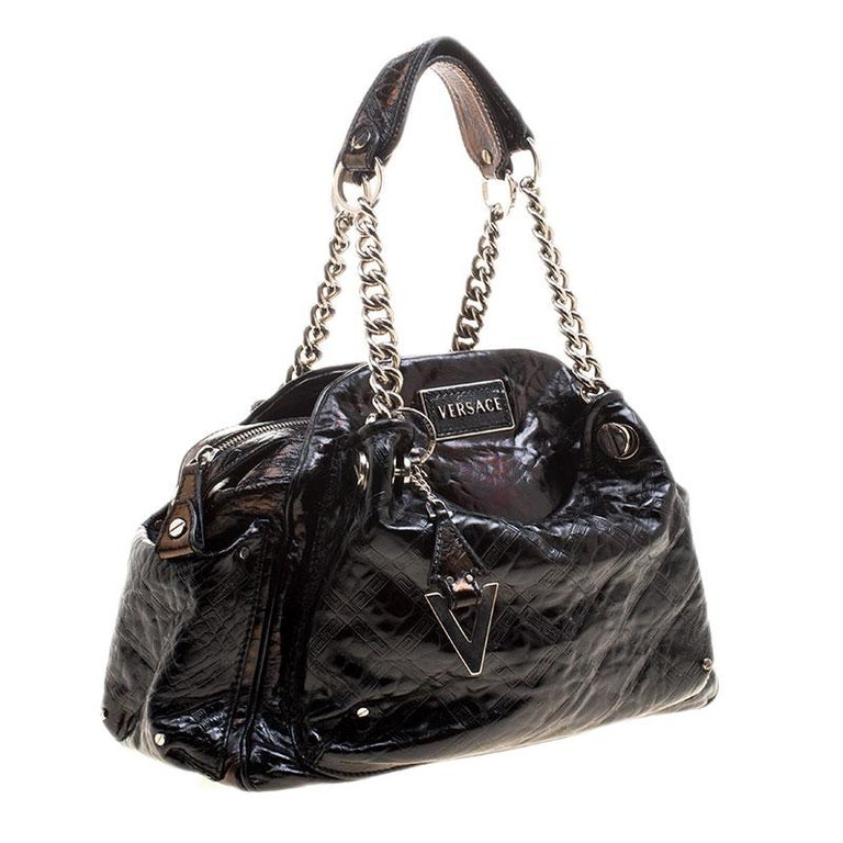 Women's Versace Holographic Black Textured Patent Leather Satchel For Sale