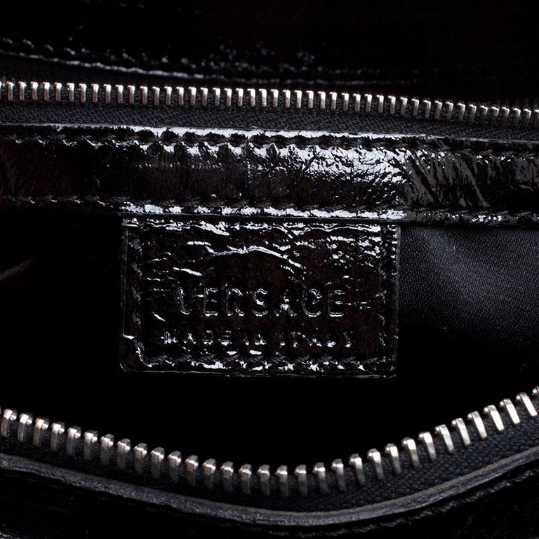 Versace Holographic Black Textured Patent Leather Satchel For Sale 1