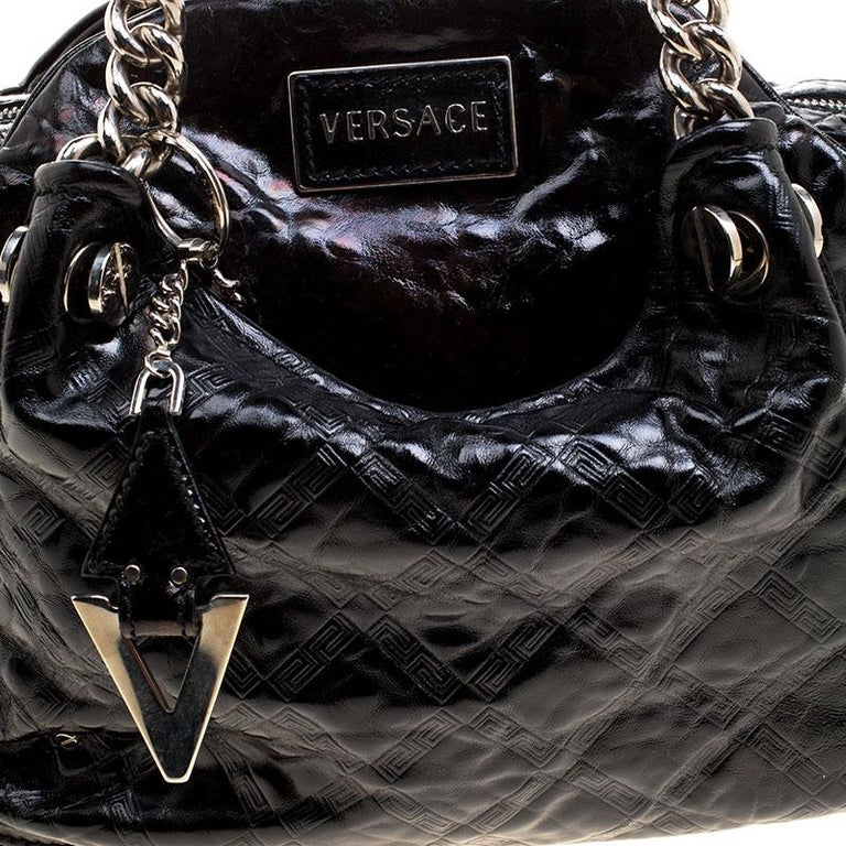 Versace Holographic Black Textured Patent Leather Satchel For Sale 4