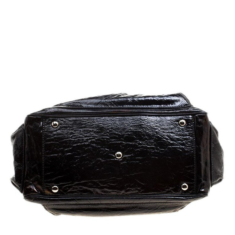Versace Holographic Black Textured Patent Leather Satchel For Sale 5