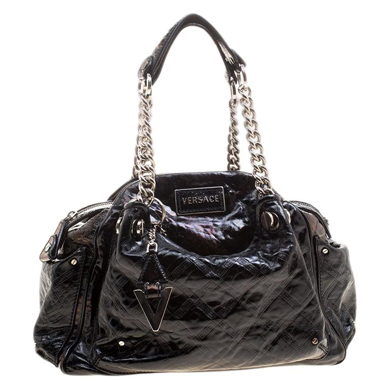 Versace Holographic Black Textured Patent Leather Satchel For Sale