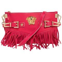 Versace Hot Pink Leather Fringed Medusa Shoulder Bag