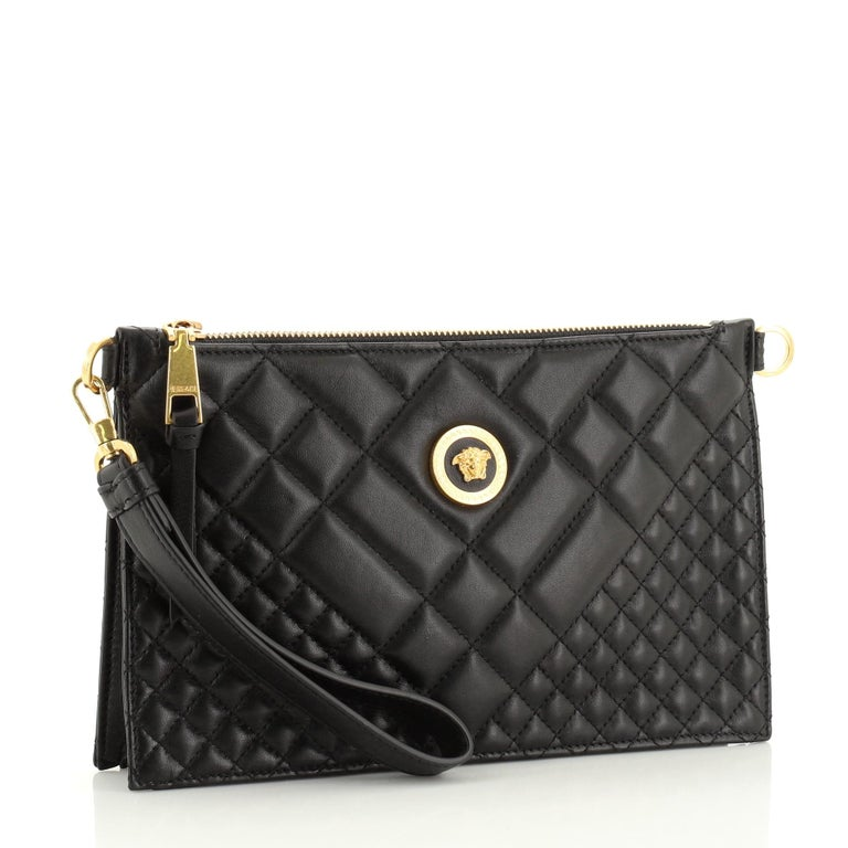 Black Versace Icon Flat Crossbody Bag Quilted Leather For Sale