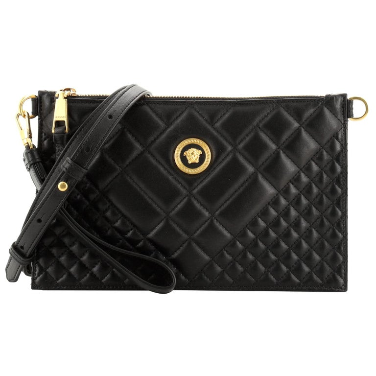 Versace Icon Flat Crossbody Bag Quilted Leather For Sale