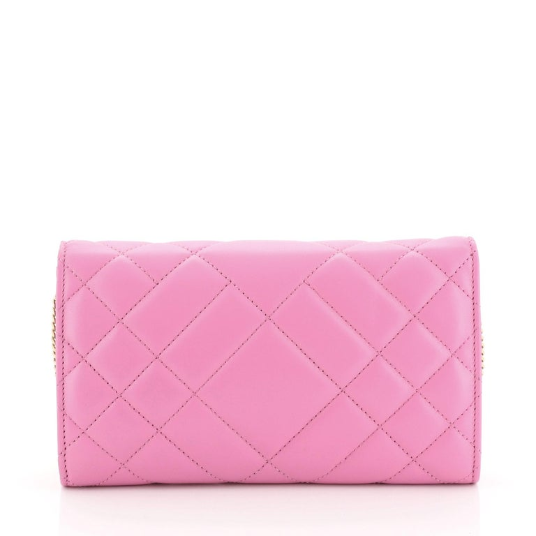 Pink Versace Icon Wallet on Chain Quilted Leather For Sale