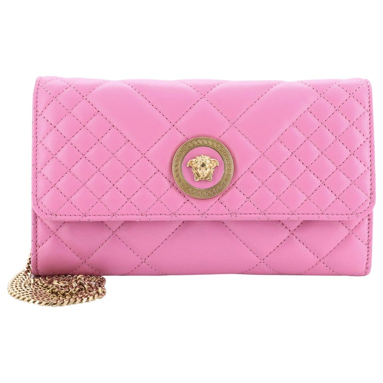 Versace Icon Wallet on Chain Quilted Leather For Sale