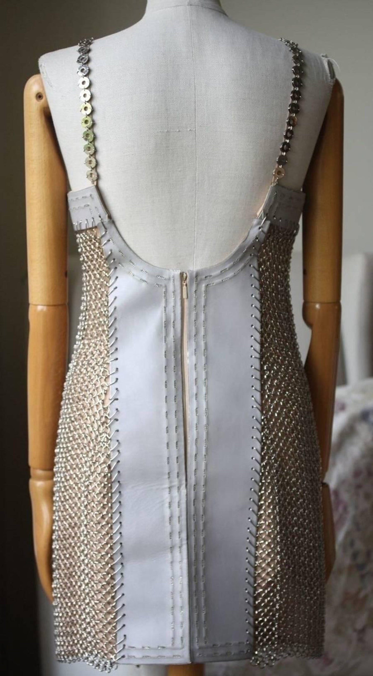 3dd9db050c1 Versace Iconic Chain-Mail and Silk-Satin Mini Dress For Sale at 1stdibs