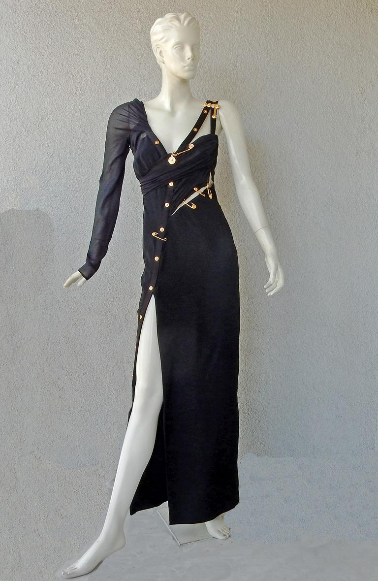 Black Versace Iconic New Version of the Safety Pin Evening Dress   New For Sale