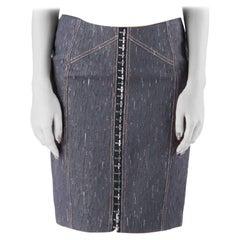 Versace Indigo Textured Denim Hook Detail Pencil Skirt M