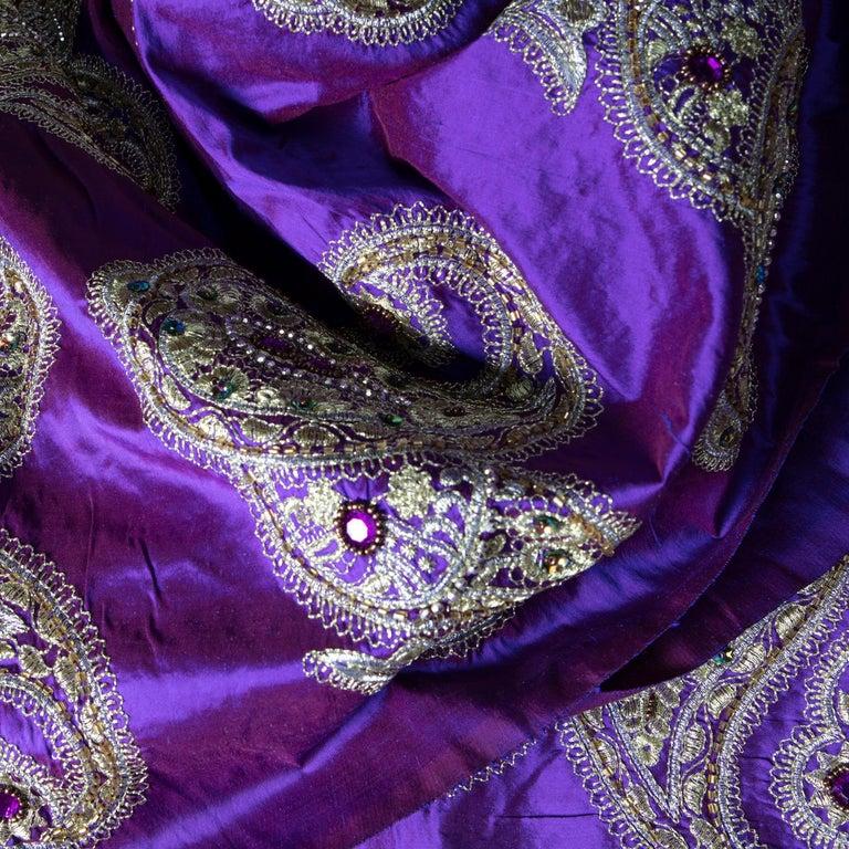 Versace Inspired Violet Paisley Ari Metallic Embroidery Jeweled Rhinstone Silk For Sale 3