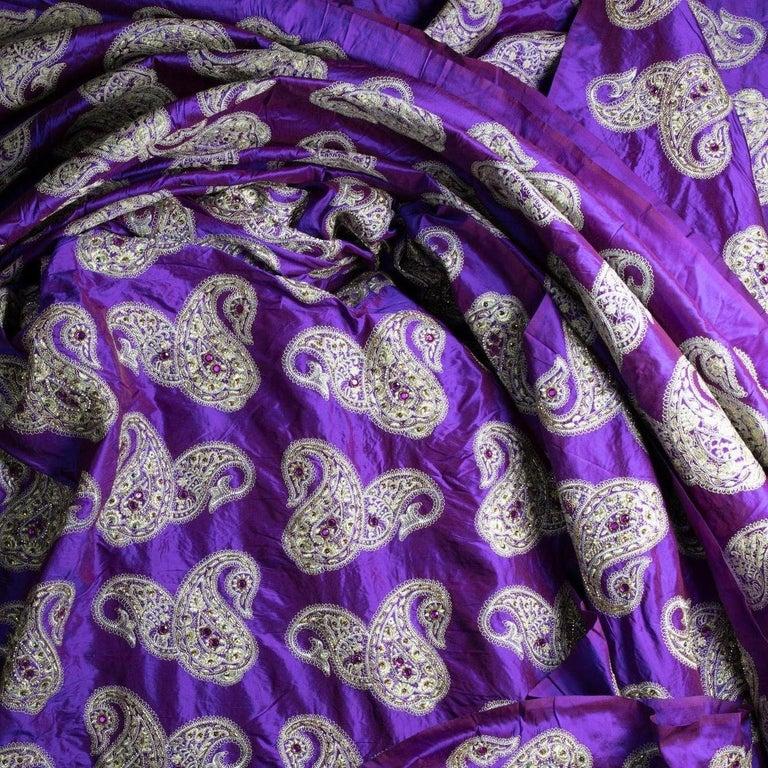 Versace Inspired Violet Paisley Ari Metallic Embroidery Jeweled Rhinstone Silk For Sale 4