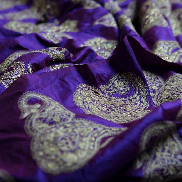 Bohemian Versace Inspired Violet Paisley Ari Metallic Embroidery Jeweled Rhinstone Silk For Sale