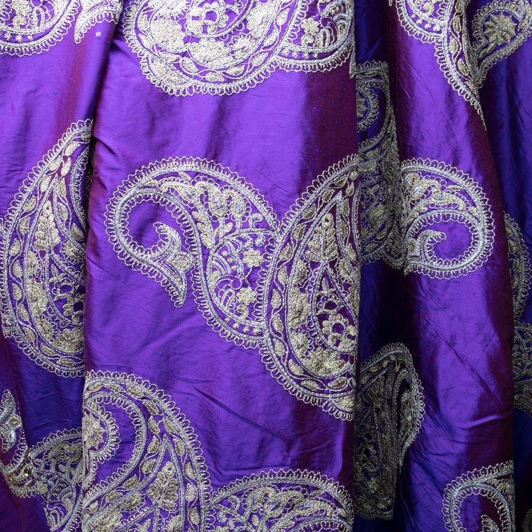 Indian Versace Inspired Violet Paisley Ari Metallic Embroidery Jeweled Rhinstone Silk For Sale