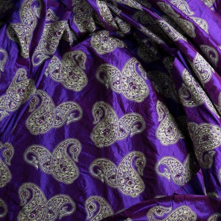Embroidered Versace Inspired Violet Paisley Ari Metallic Embroidery Jeweled Rhinstone Silk For Sale