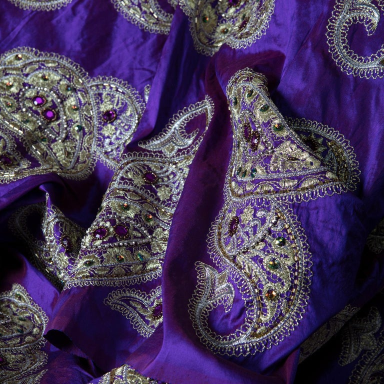Versace Inspired Violet Paisley Ari Metallic Embroidery Jeweled Rhinstone Silk In Excellent Condition For Sale In Asheville, NC