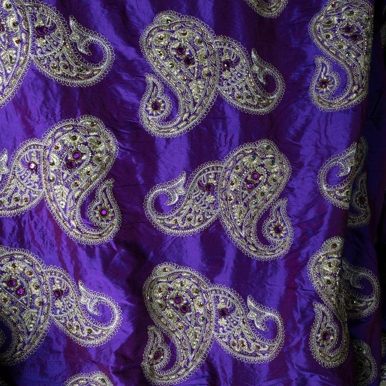 Late 20th Century Versace Inspired Violet Paisley Ari Metallic Embroidery Jeweled Rhinstone Silk For Sale