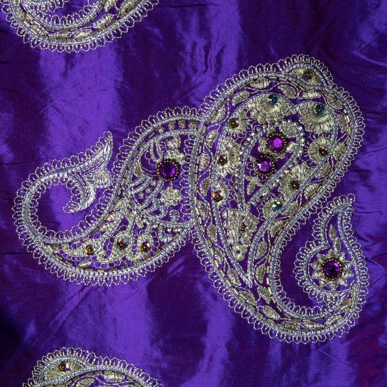 Versace Inspired Violet Paisley Ari Metallic Embroidery Jeweled Rhinstone Silk For Sale 1