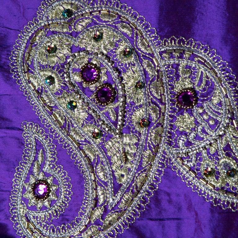 Versace Inspired Violet Paisley Ari Metallic Embroidery Jeweled Rhinstone Silk For Sale 2