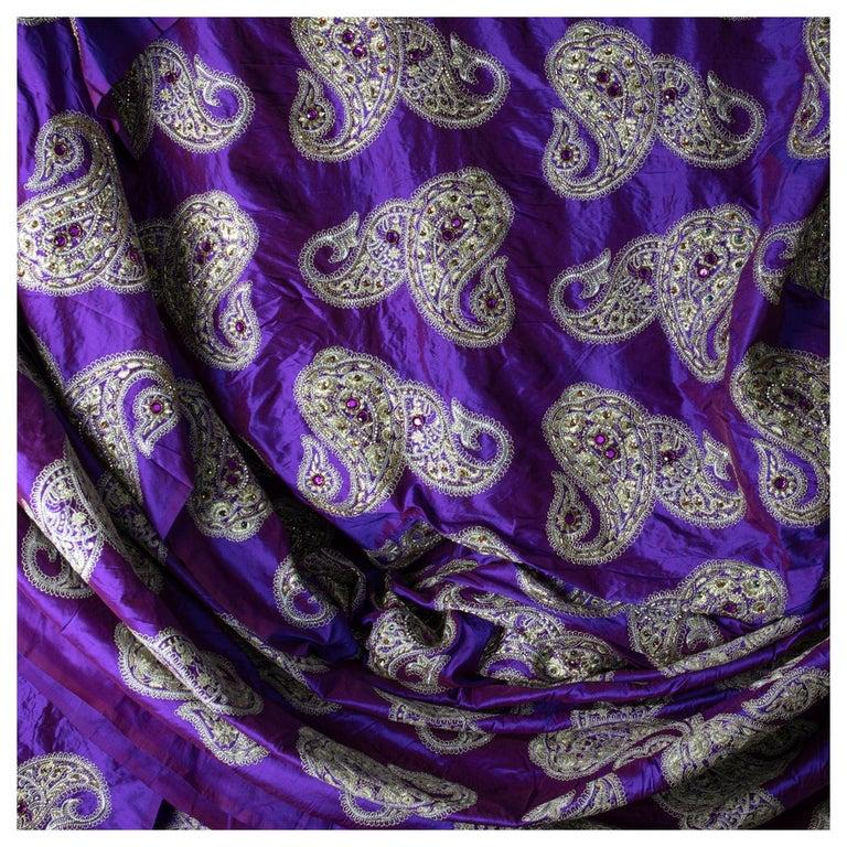 Versace Inspired Violet Paisley Ari Metallic Embroidery Jeweled Rhinstone Silk For Sale